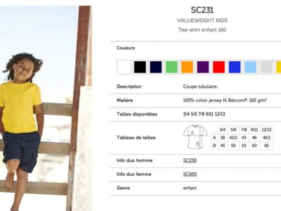 Références et options du produit pour Tshirt Enfant 160g