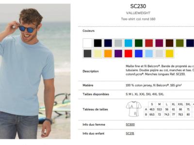 Références et options du produit pour Tshirt Homme 160g