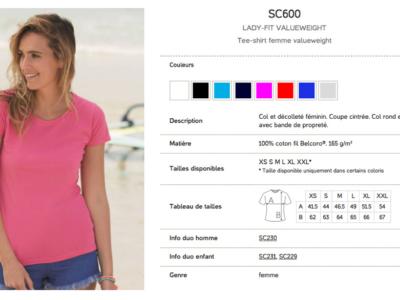 Références et options du produit pour Tshirt femme 160g